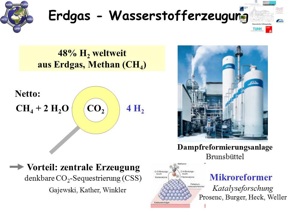 Erdgas - Wasserstofferzeugung Dampfreformierungsanlage