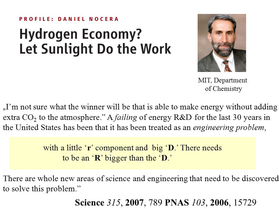 "MIT, Department of Chemistry. ""I'm not sure what the winner will be that is able to make energy without adding."