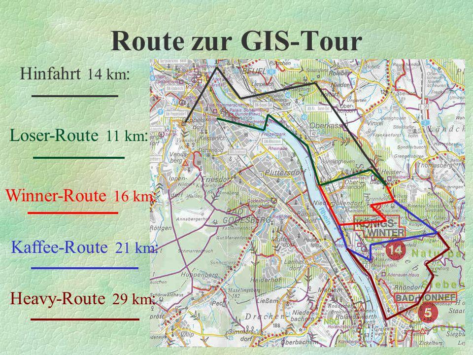 Route zur GIS-Tour Hinfahrt 14 km: Loser-Route 11 km: