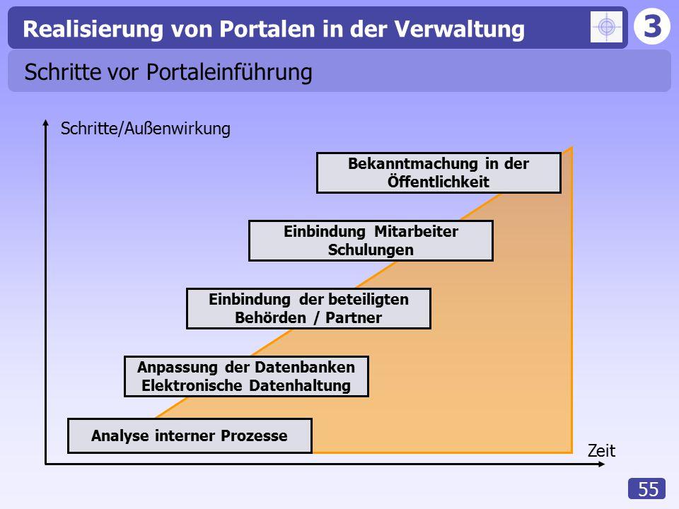 Schritte vor Portaleinführung