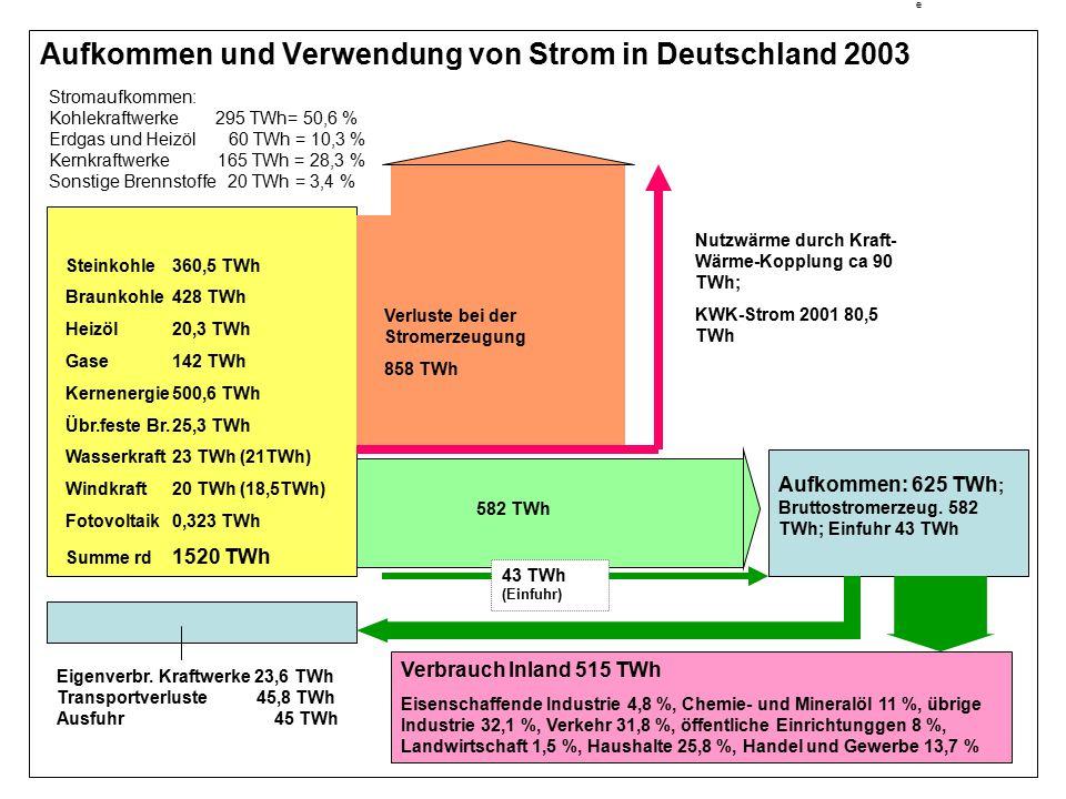 Aufkommen und Verwendung von Strom in Deutschland 2003