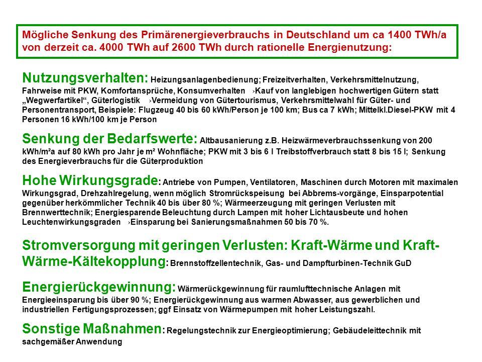 Mögliche Senkung des Primärenergieverbrauchs in Deutschland um ca 1400 TWh/a von derzeit ca. 4000 TWh auf 2600 TWh durch rationelle Energienutzung: