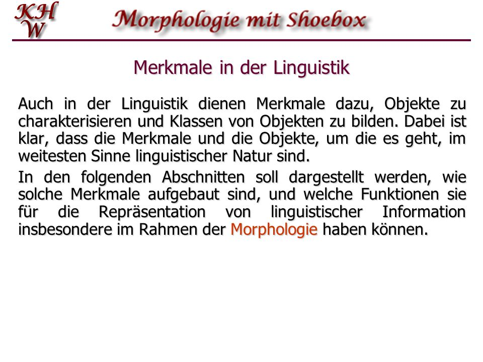 Merkmale in der Linguistik