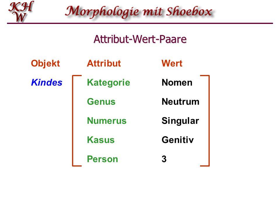 Attribut-Wert-Paare Objekt Attribut Wert Kindes Kategorie Nomen