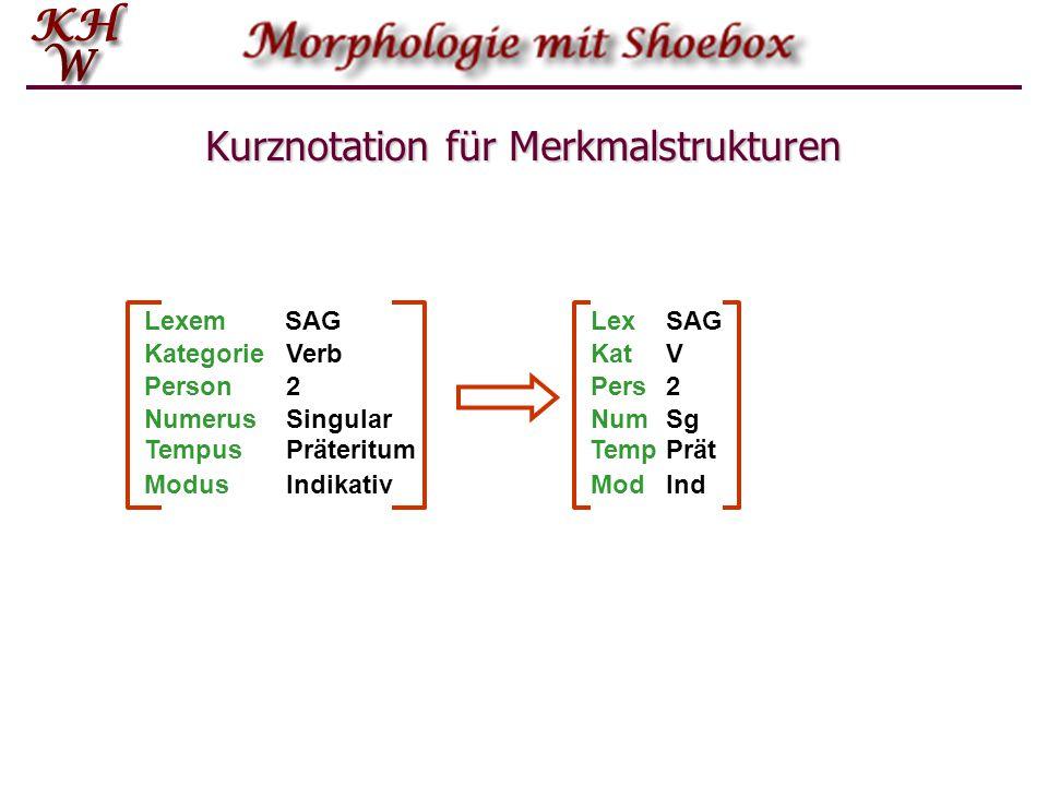 Kurznotation für Merkmalstrukturen