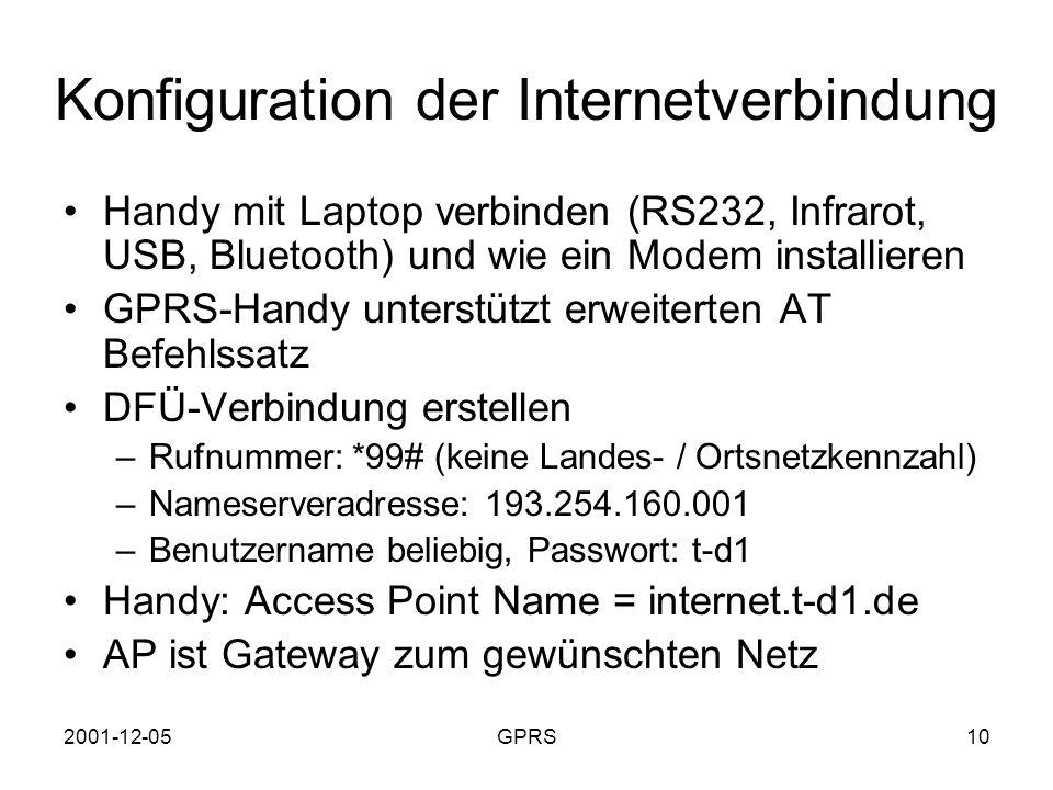 Konfiguration der Internetverbindung