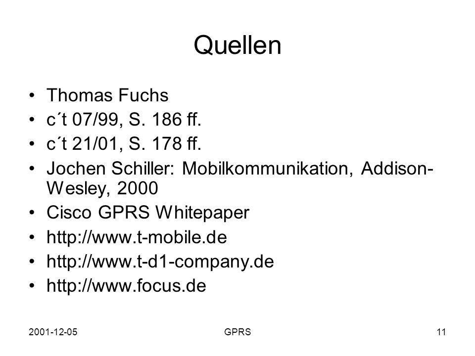 Quellen Thomas Fuchs c´t 07/99, S. 186 ff. c´t 21/01, S. 178 ff.