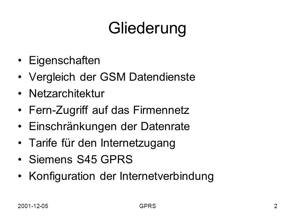 Gliederung Eigenschaften Vergleich der GSM Datendienste