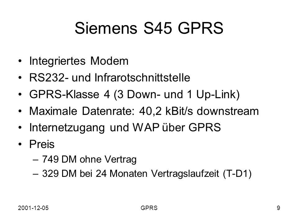 Siemens S45 GPRS Integriertes Modem RS232- und Infrarotschnittstelle