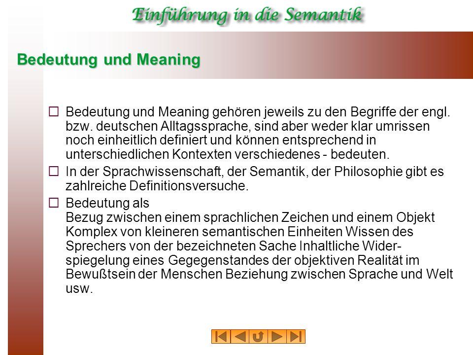 Bedeutung und Meaning