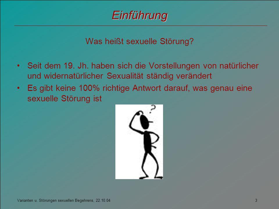 Was heißt sexuelle Störung
