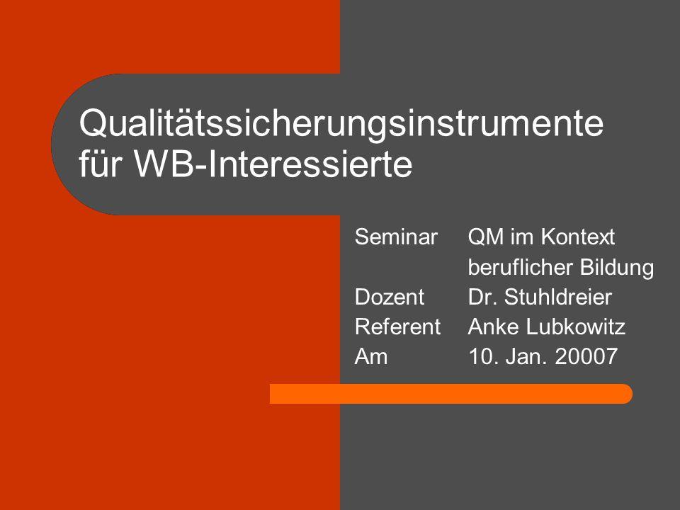Qualitätssicherungsinstrumente für WB-Interessierte