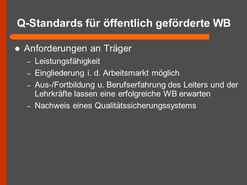 Q-Standards für öffentlich geförderte WB