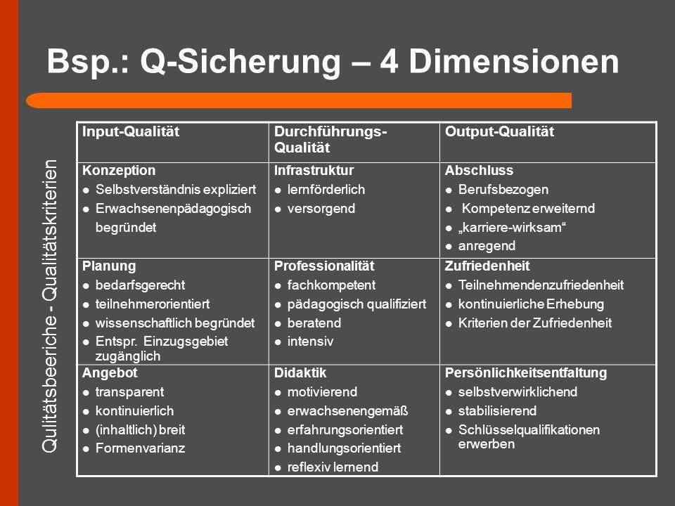 Bsp.: Q-Sicherung – 4 Dimensionen