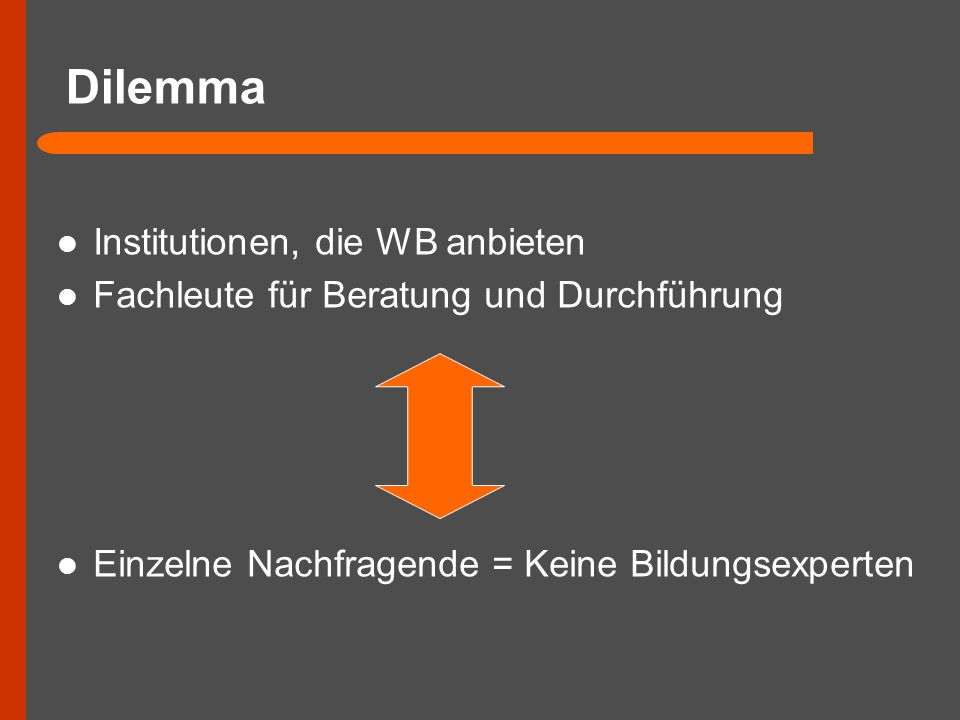 Dilemma Institutionen, die WB anbieten