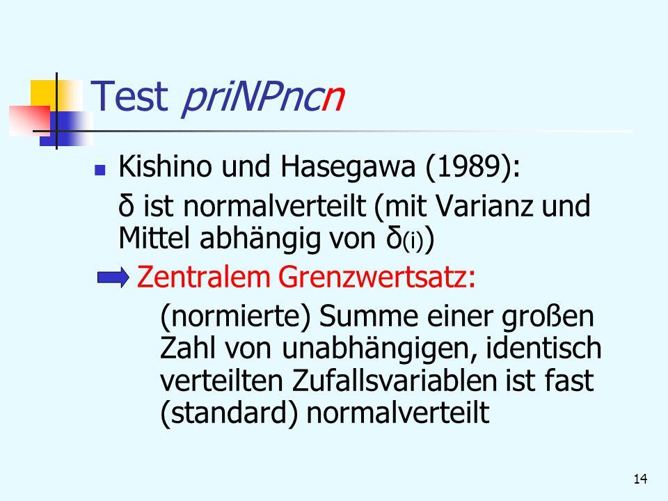 Test priNPncn Kishino und Hasegawa (1989):