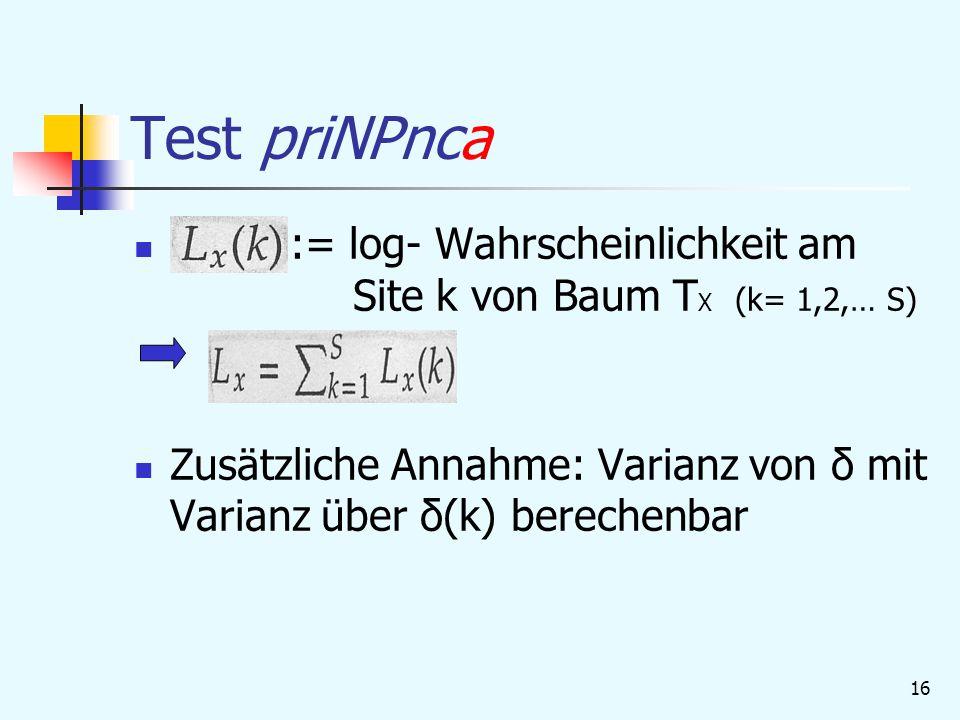 Test priNPnca := log- Wahrscheinlichkeit am Site k von Baum TX (k= 1,2,… S)