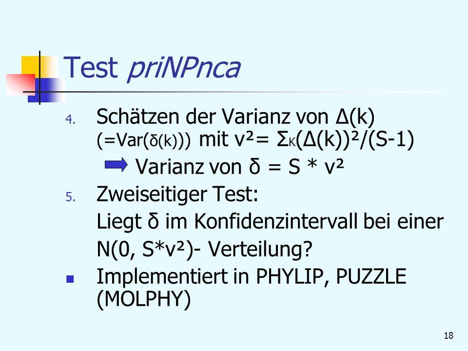 Test priNPnca Schätzen der Varianz von Δ(k) (=Var(δ(k))) mit ν²= ΣK(Δ(k))²/(S-1) Varianz von δ = S * ν².
