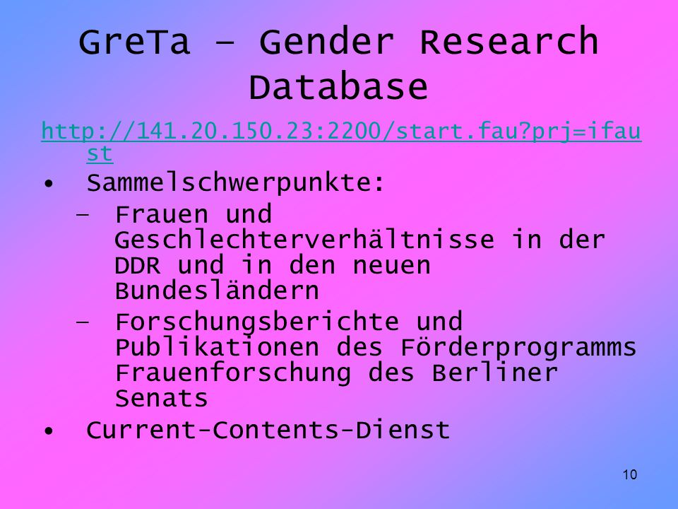 GreTa – Gender Research Database