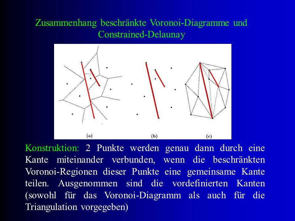 Zusammenhang beschränkte Voronoi-Diagramme und Constrained-Delaunay