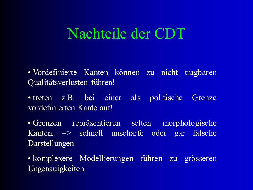 Nachteile der CDT Vordefinierte Kanten können zu nicht tragbaren Qualitätsverlusten führen!