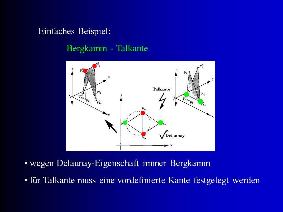 Einfaches Beispiel: Bergkamm - Talkante. wegen Delaunay-Eigenschaft immer Bergkamm.