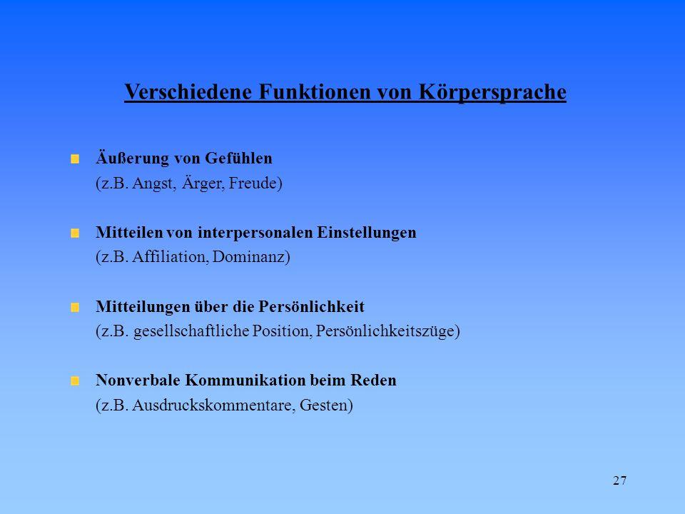 Verschiedene Funktionen von Körpersprache