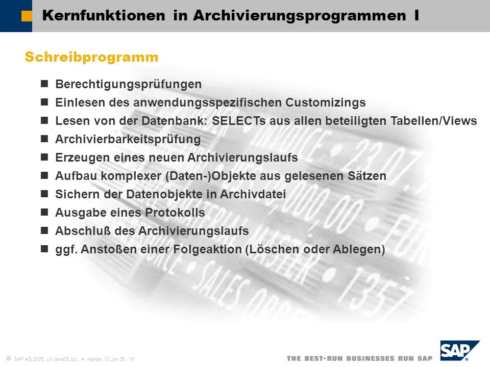 Kernfunktionen in Archivierungsprogrammen I