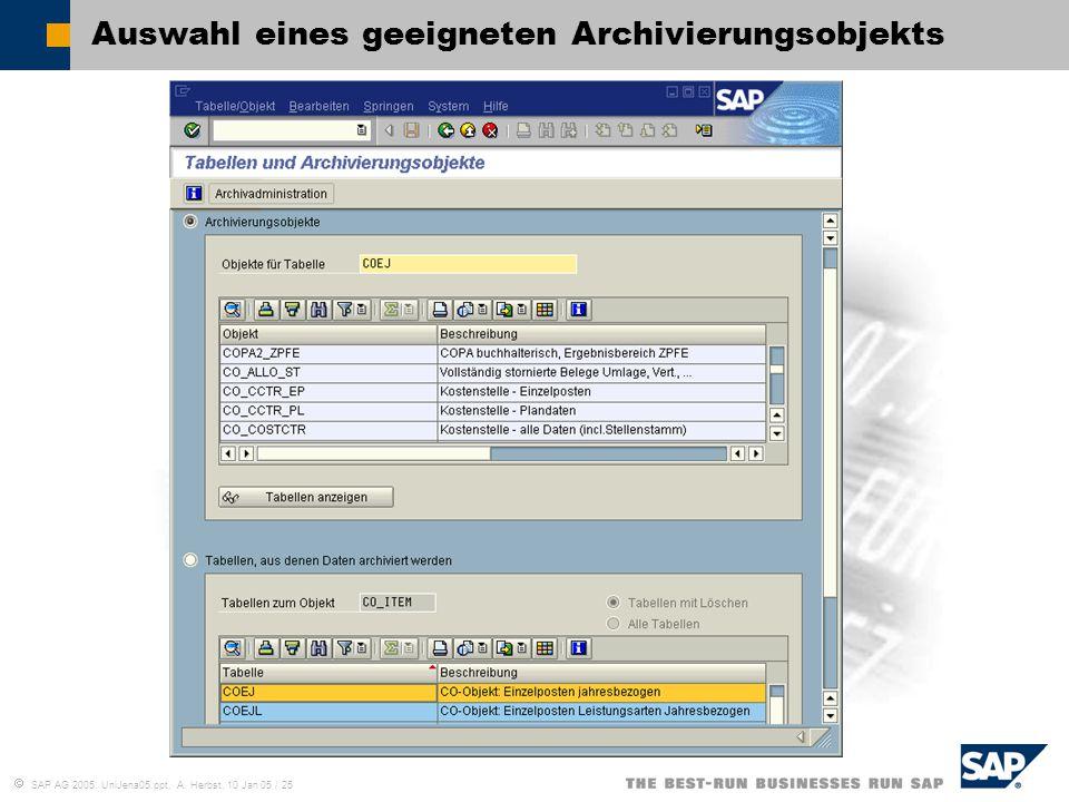 Auswahl eines geeigneten Archivierungsobjekts