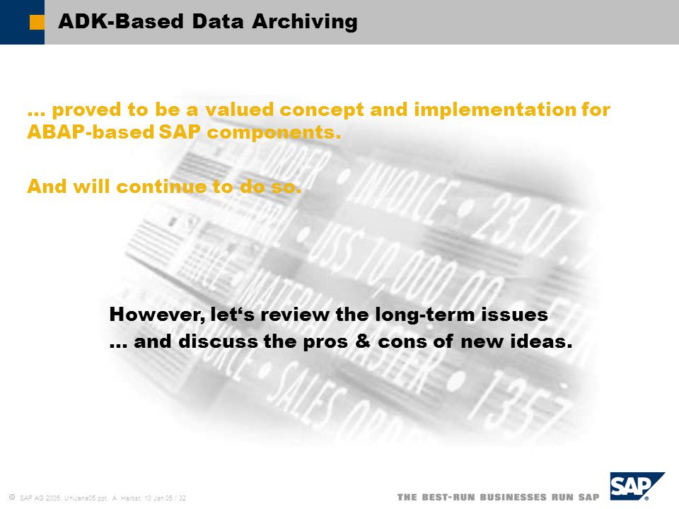 ADK-Based Data Archiving