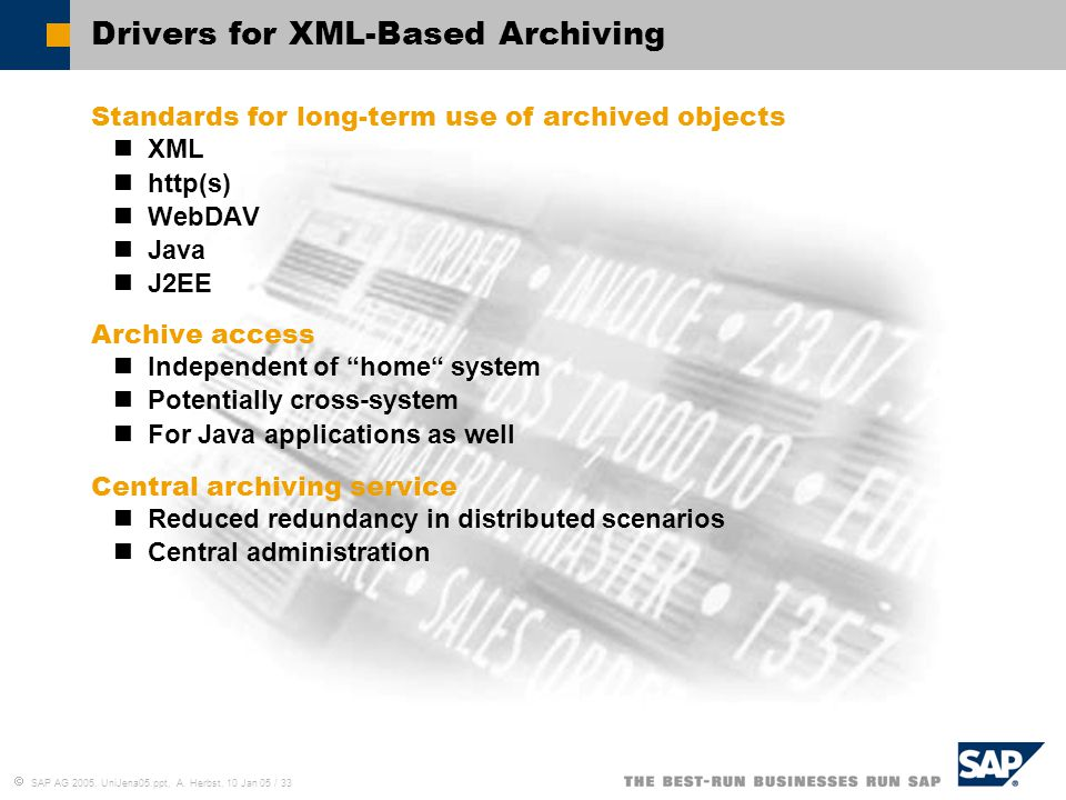 Drivers for XML-Based Archiving