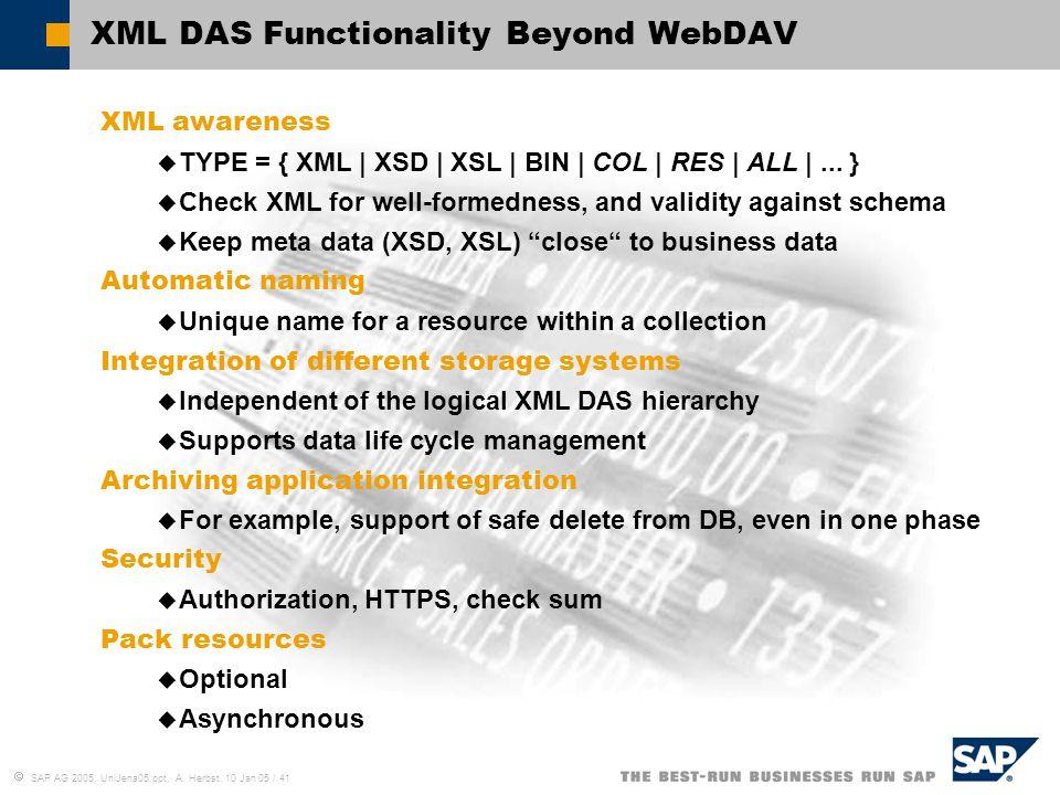 XML DAS Functionality Beyond WebDAV
