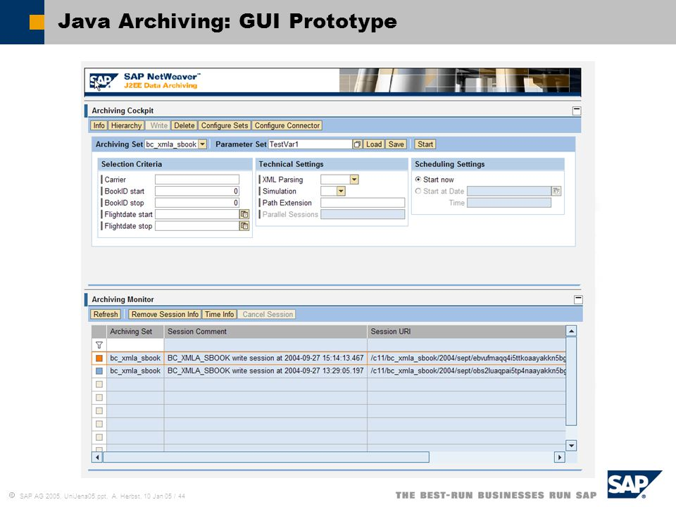 Java Archiving: GUI Prototype