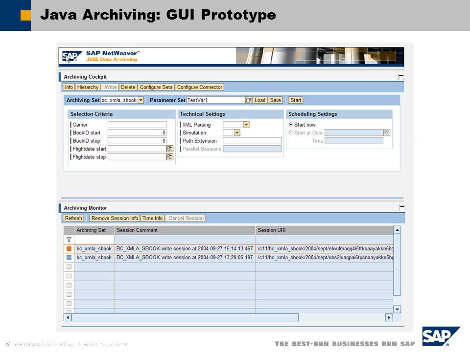 Java Archiving: GUI Prototype