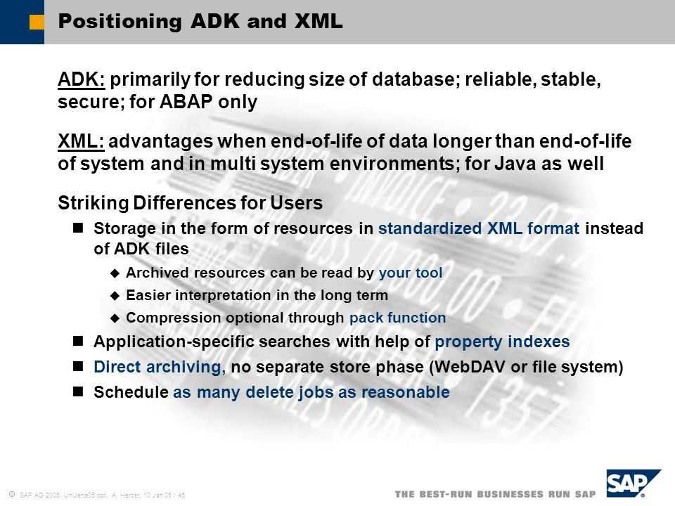 Positioning ADK and XML