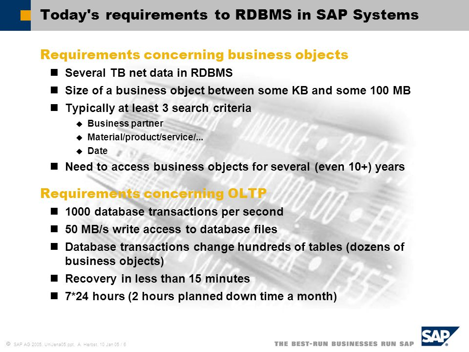 Today s requirements to RDBMS in SAP Systems