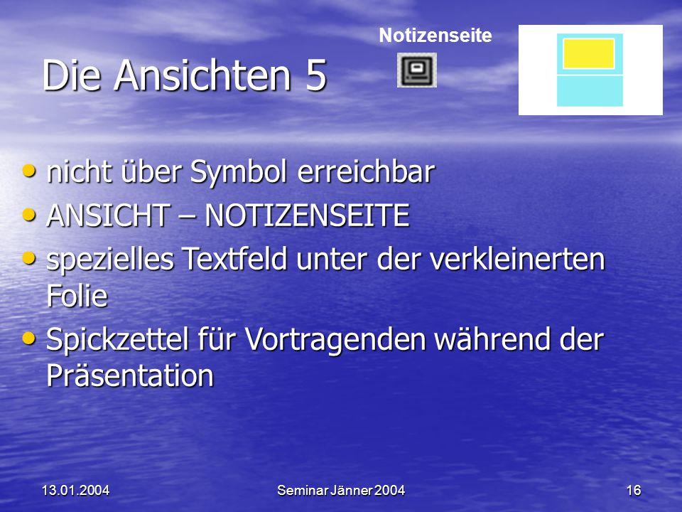 Die Ansichten 5 nicht über Symbol erreichbar ANSICHT – NOTIZENSEITE