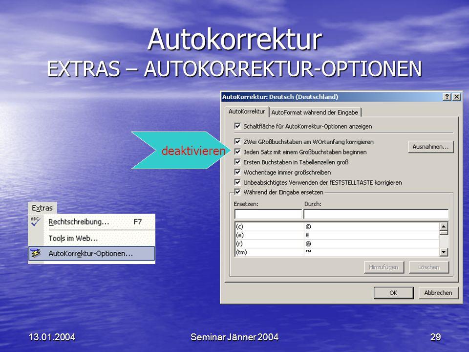 Autokorrektur EXTRAS – AUTOKORREKTUR-OPTIONEN