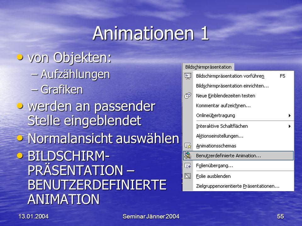 Animationen 1 von Objekten: werden an passender Stelle eingeblendet