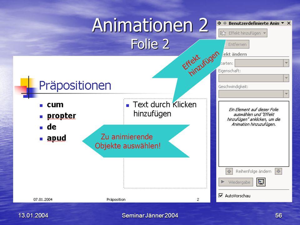 Animationen 2 Folie 2 hinzufügen Effekt Zu animierende