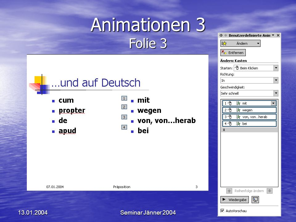 Animationen 3 Folie 3 13.01.2004 Seminar Jänner 2004