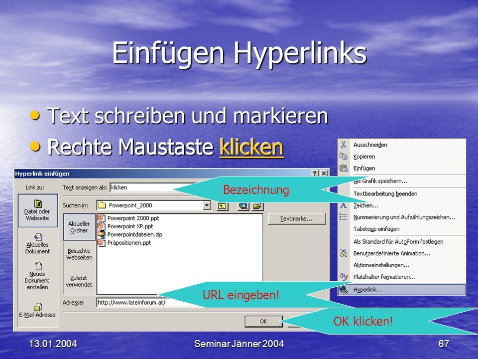 Einfügen Hyperlinks Text schreiben und markieren
