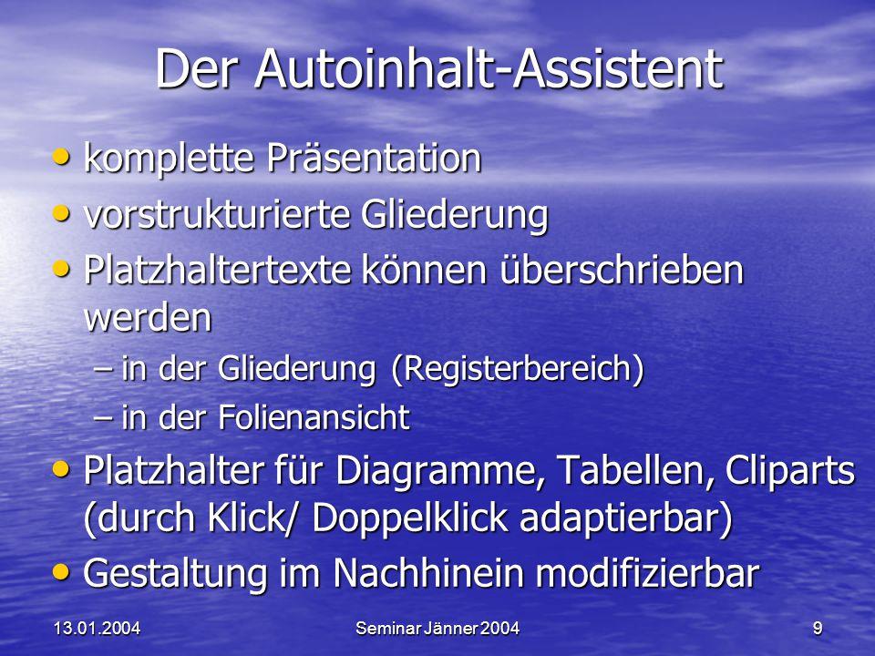Der Autoinhalt-Assistent