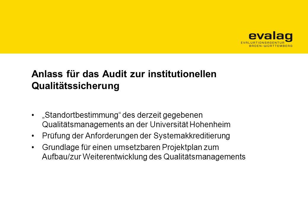 Anlass für das Audit zur institutionellen Qualitätssicherung