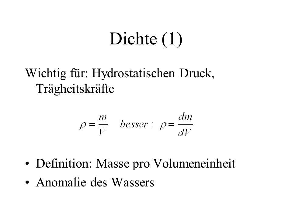 Dichte (1) Wichtig für: Hydrostatischen Druck, Trägheitskräfte