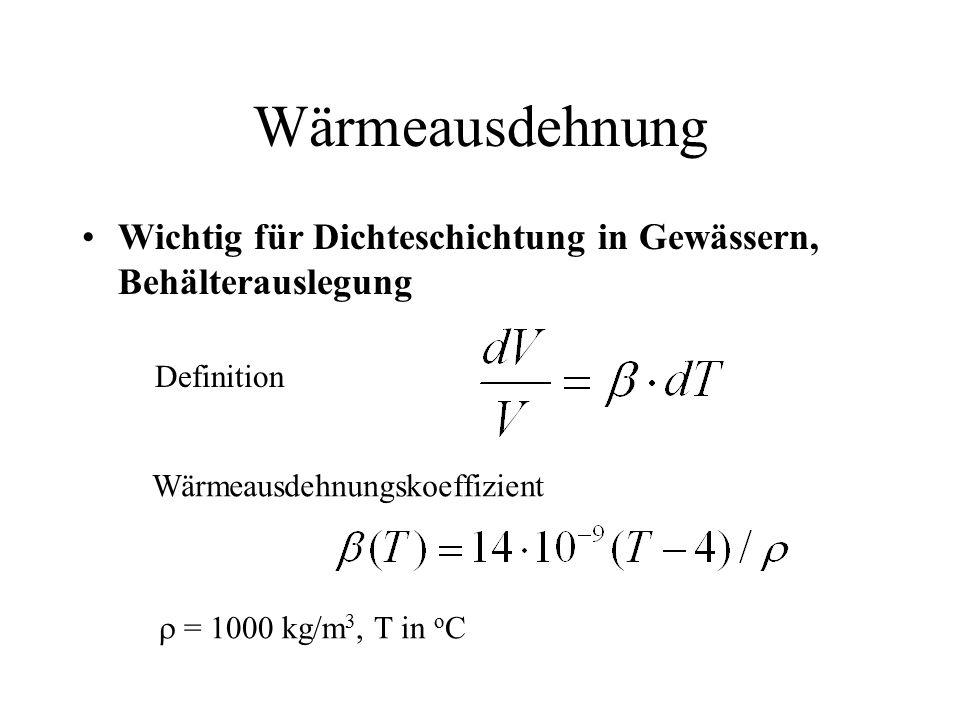Wärmeausdehnung Wichtig für Dichteschichtung in Gewässern, Behälterauslegung. Definition. Wärmeausdehnungskoeffizient.