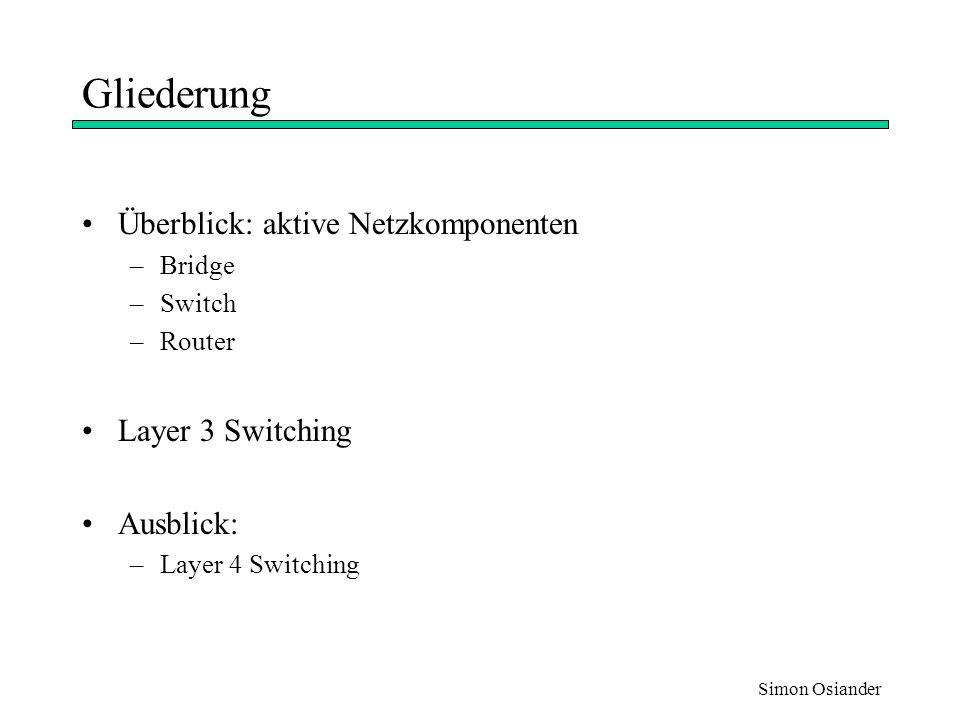 Gliederung Überblick: aktive Netzkomponenten Layer 3 Switching