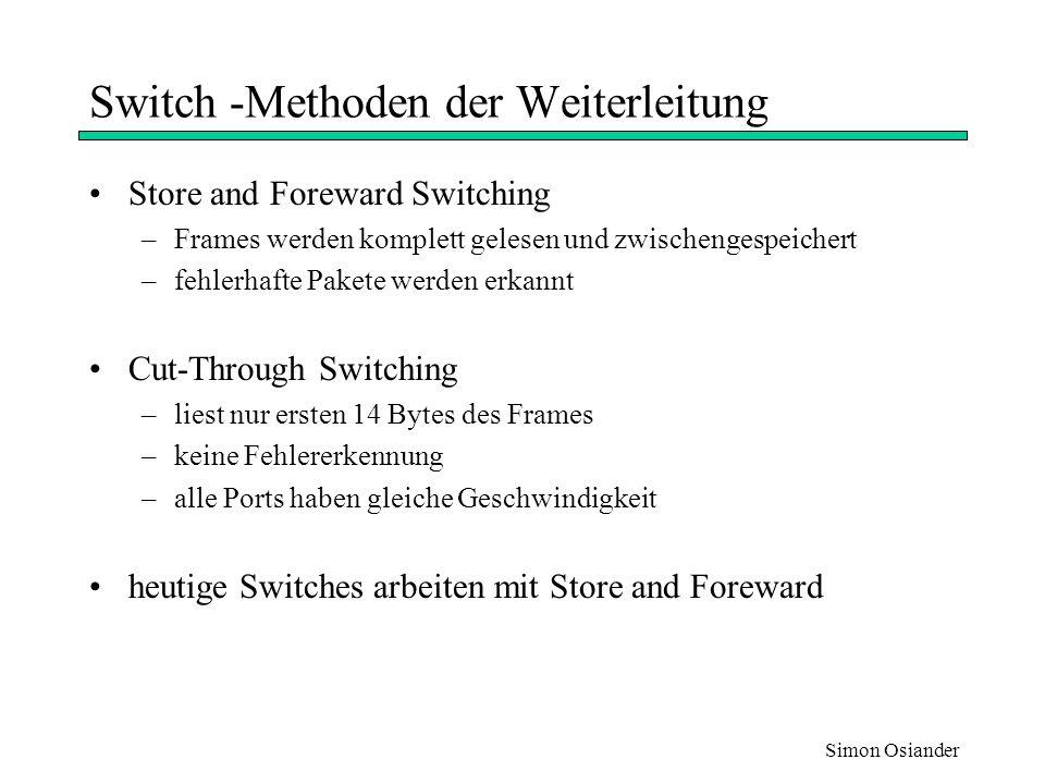 Switch -Methoden der Weiterleitung
