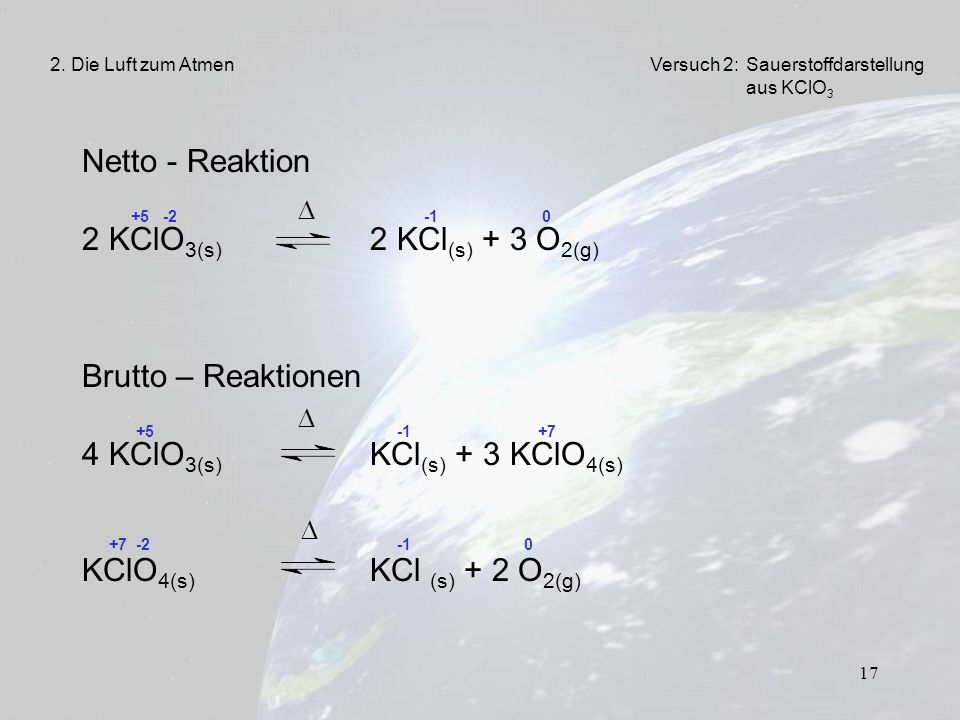    Netto - Reaktion 2 KClO3(s) 2 KCl(s) + 3 O2(g)