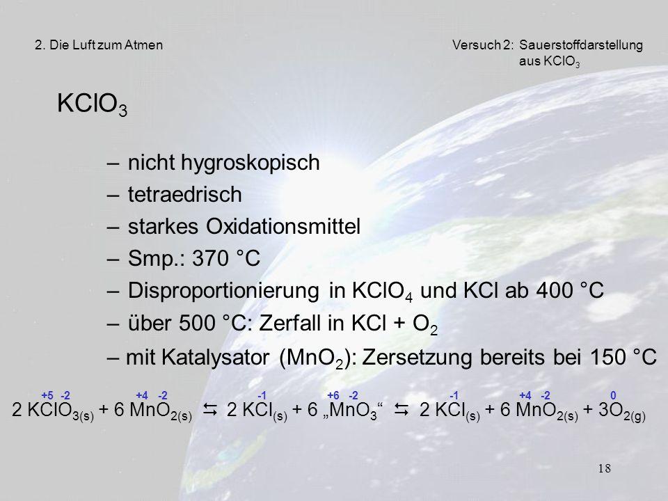 KClO3 nicht hygroskopisch tetraedrisch starkes Oxidationsmittel